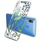 Suhctup Compatible con Samsung Galaxy A21S Funda Flor de TPU Transparente Diseño de Flores Patrón Cárcasa Ultra Fina Suave con Dibujos Claro Silicona Antigolpes Proteccion Caso(A10)