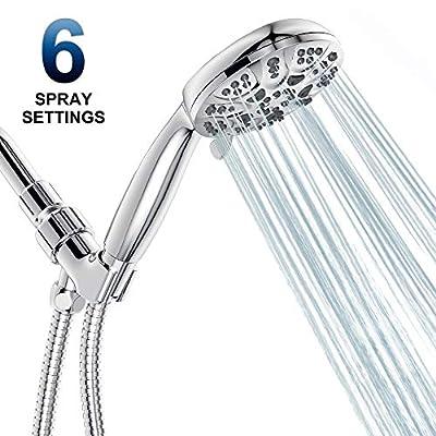 6 Functions Handheld Shower Head Set, HOPOPRO 2020 Newest High Pressure Shower Head High Flow Hand Held Showerhead Set with 59 Inch Hose Bracket Teflon Tape Rubber Washers