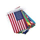 LIOOBO 1 Satz 100 Stücke Länder String Flagge Fußball Flagge Nationalflagge Banner FIFA Flagge Olympischen Fahnen Wimpel Banner für Fans Bar Weltmeisterschaft Fußballspiel Sport...
