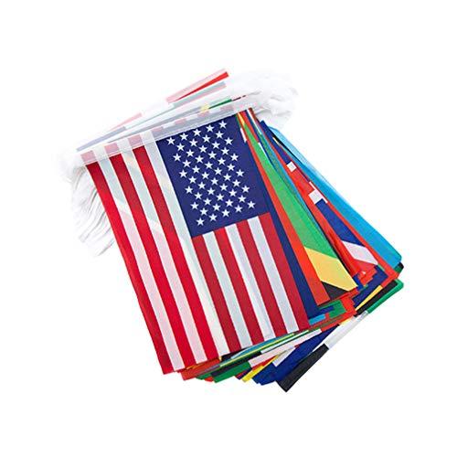 LIOOBO 1 Satz 100 Stücke Länder String Flagge Fußball Flagge Nationalflagge Banner FIFA Flagge Olympischen Fahnen Wimpel Banner für Fans Bar Weltmeisterschaft Fußballspiel Sport Dekoration