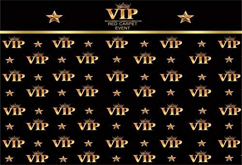 YongFoto 3x2,5m Vinyl Foto Hintergrund VIP Hintergrund Roter Teppich Event Kronensterne Schwarzes Foto Fotografie Hintergrund Partydekoration Video Fotostudio Hintergründe Fotoshooting