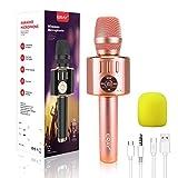 ERAY Micrófono Karaoke Bluetooth, Micrófono Inalámbrico Karaoke 5 en 1, 2 Altavoces Incorporados, 3.5mm AUX, Compatible con Smartphone, Buen Regalo para los Niños o Adultos, Color Rosa (Modelo H36)