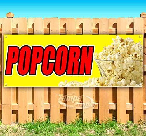 Popcorn 13 oz Banner Heavy-Duty Vinyl Single-Sided with Metal Grommets