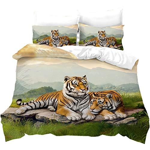 Stillshine. Juego de Cama 3D Salvaje Animal Tigre Selva Impresión Juego de 3 Piezas (1 Funda Nórdica y 2 Funda de Almohada) (Color 3, 180 x 210 cm)
