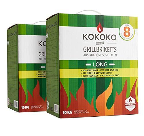 KOKOKO Long 2 x 10kg, Bio Grillbriketts aus Kokosnuss, sehr Lange Brenndauer, ideal für Smoker, Schwenkgrill & Gastronomie