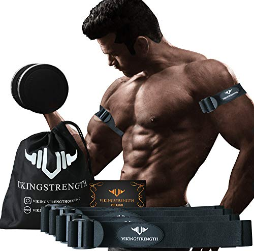 Vikingstrength Blood Resistance Bands - Adjustable Occlusion Straps for Arms and Legs for Fitness and Bodybuilding, Get Lean Muscles Without Lifting Heavy Weights, Included Wrist Band