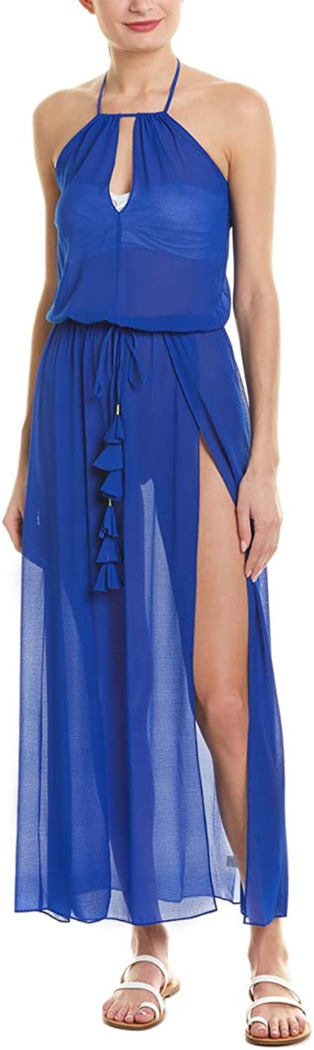 Ramy Brook Womens Justina Sheer Halter Dress Swim CoverUp