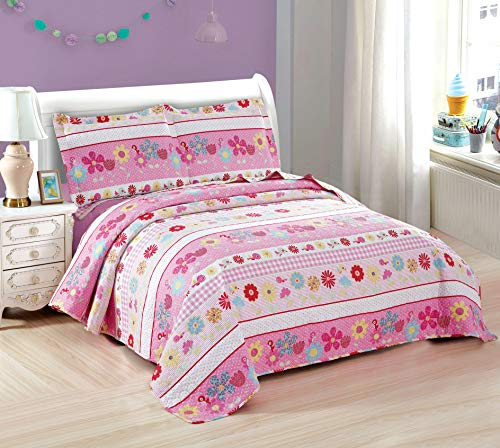 3-Piece Girls Floral Quilt Set Twin with Shams, Flowers Birds Dot Stripe, Soft Lightweight Breathable Quilted Bedspread Coverlet Bedding Set for All Seasons (Pink Flower, Twin)