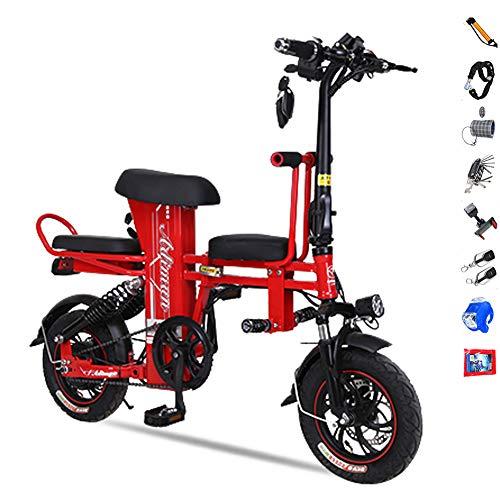 Hxl Elektrische fiets, inklapbaar, voor volwassenen, van koolstofstaal, 12 inch, dubbele rem, schokdemper, 3 kleuren, 40to200 km