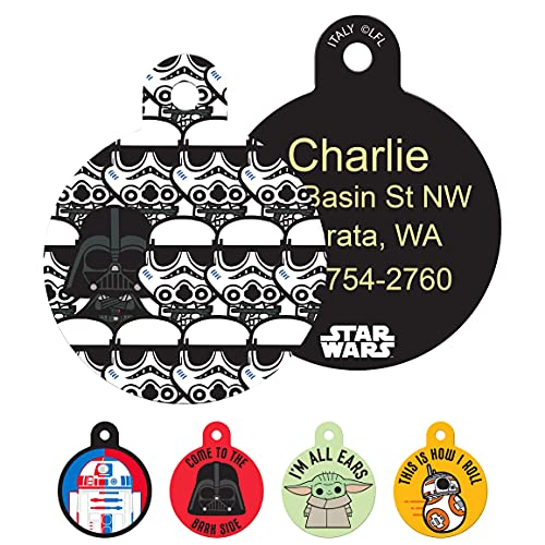 GoTags Star Wars Darth Vader and Storm Troopers Dog Tags for Pets, Personalized Engraved Dog ID Tags with up to 4 Lines of Custom Text