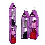 Organizador de armario ropero para colgar compuesto por 4 compartimentos desmontables, transparentes, ahorro de espacio, para uso en hogar, salón, do, color Púrpura