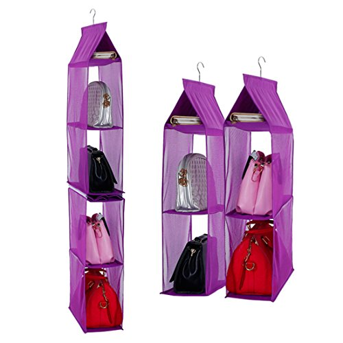 Detachable 6 Compartment Organizer Pouch Hanging Handbag Organizer Clear Purse Bag Collection Storage Holder Wardrobe Closet Space Saving Organizers System for Living Room Bedroom Home Use Purple