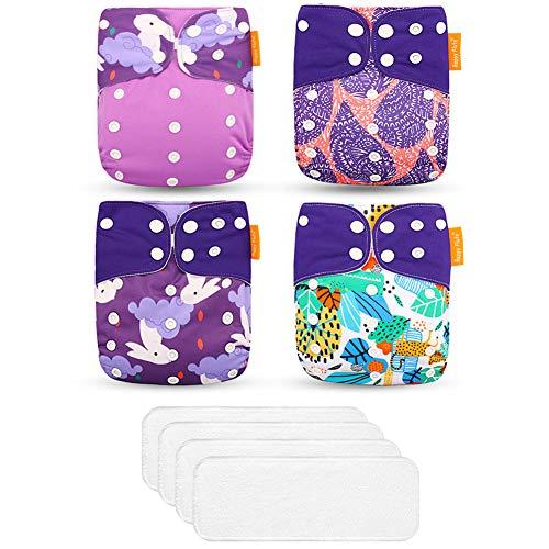 ED-Lumos 4Pcs Purpurkaninchen Wiederverwendbare Baby-Taschenwindeln Stoffwindeln mit 4Pcs Einsätzen für die meisten Babys und Kleinkinder