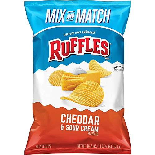 Ruffles Cheddar and Sour Cream Potato Chips, Party Size 16.12 oz | Pack of 3
