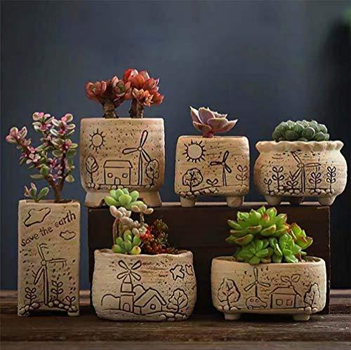 Vasi per piante da interni,vasi da fiori della città dei mulini a vento,vaso per piante grasse in stile giapponese,mini fioriere per erbe o aloe,set di 6,espositori decorativi per la casa,l'ufficio