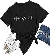 DANVOUY Womens Causal Short Sleeve V-Neck T-Shirt Graphic Tees