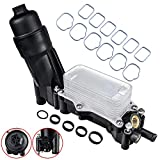 Engine Oil Cooler Filter Housing Adapter & Intake Manifold Gasket Set Compatible with 2014-2017 Jeep Wrangler Grand Cherokee Dodge Avenger Challenger Charger Caravan Chrysler Town & Country 3.6L