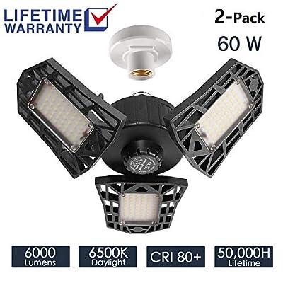 2-Pack Garage Lights 60W LED Garage Lighting - 6000LM 6500K LED Trilights Garage Ceiling Light Fixtures, LED Shop Light with Adjustable Multi-Position Panels, Triple Glow Light for Garage, Workshop