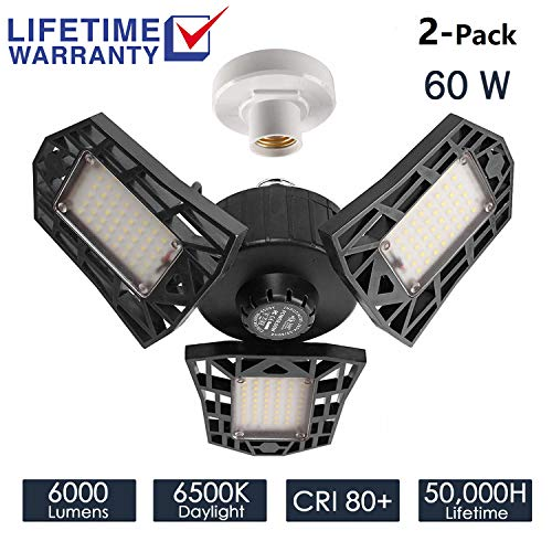 2-Pack Garage Lights 60W LED Garage Lighting - 6000LM 6500K LED Three-Leaf Garage Ceiling Light Fixtures, LED Shop Light with Adjustable Multi-Position Panels, Triple Glow Light for Garage, Workshop