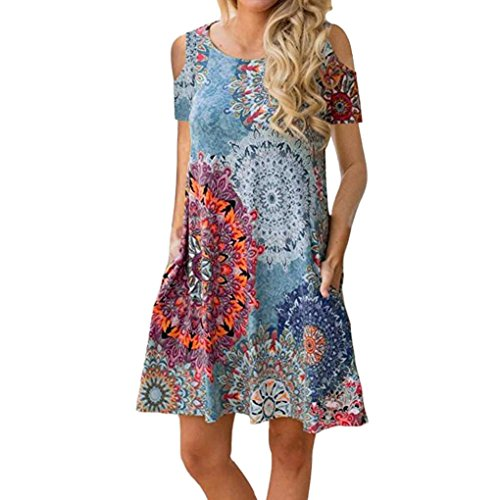 TUDUZ Damen Langarm Vintage Boho Maxi Abend Party Strand Blumenkleid Sommerkleid(XXL,Multicolor-B)