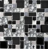 Mosaico de baldosas de acero inoxidable traslúcido, negro, combinación, mosaico de cristal, acero...