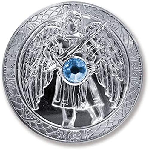 Berk Talisman Schutzengel Engeltaler Erzengel Michael, Ø 27mm Taler Silber mit Swarovski Elements, Glücksbringer, Glücksmünze