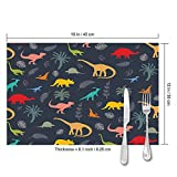 shower curtain doormat Placemats Set of 4,Dinosaur Silhouettes Animals Dino Heat-Resistant Placemats Washable Table Mats for Kitchen Dining Table 12X18 Inch