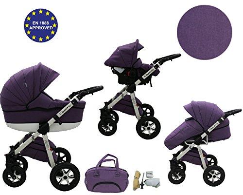 QUERO Lin Matériau - Landau pour bébé + Siège Auto - Poussette - Système 3en1 + Accessoires (Système 3en1, Lin Matériau N ° 4)