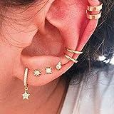 Missgrace Multiple Piercings Cute Big Hoop Elegant Rhinestones Earrings Set Vintage Star Earring Set Bohemian Earrings Stud Earrings Gold Punk Chain Earrings Set for Women and Girls (Style 3)