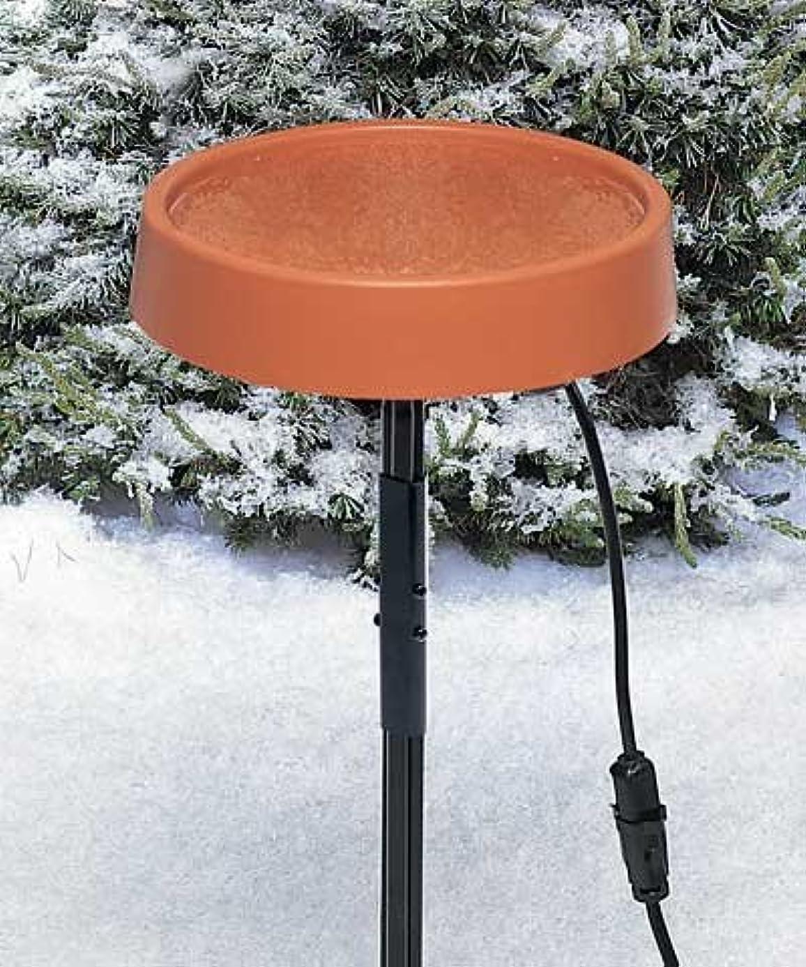 Allied Precision Heated Bird Bath with Metal Stand, Terra Cotta
