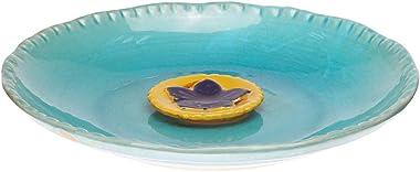 Topadorn Birdbath Ceramic Bowl Decor for Bee Bird Bath Outdoor Garden Vintage Yard,Blue with Yellow Flower