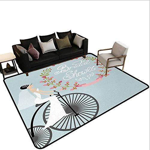 MsShe Zwembad anti-slip tapijt Bruids Douche, Bruid en Beste Vrienden Bruidsmeisje op Bloemen Ivy Backdrop Art Print,Grijs Roze en Wit