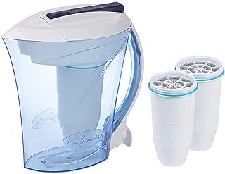 ZeroWater Pack Carafe filtrante d'eau 2,4 L avec 3 Cartouches de filtre à eau de rechange et Indicateur de qualité d'eau, ...