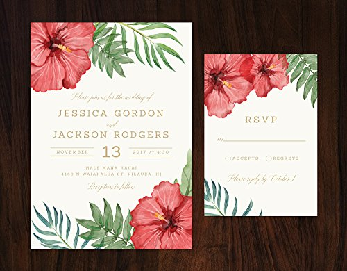 Tropical Wedding Invitation, Tropical Flowers Wedding Invitation, Hibiscus Invitation, Destination Wedding Invite