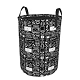 Janrely Collapsible Laundry Dirty Clothes Hamper,Retro Gamer Video Game Consoles,Large Capacity with Drawstring Storage Bin for Family Waterproof Home Office Decor,16.5 x 21.6in