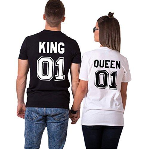 Parejas Camiseta King Queen T-Shirt 100% Algodón Shirts Impresión 01 2 Piezas de Manga Corta Rey Reina Regalo de San Jorge Camisa Casual Para Amante(Black+White,M+S)