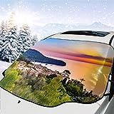 Cubierta del parabrisas del automóvil Hermosa puesta de sol Costa Mallorca España Isla Cubierta para la nieve del automóvil para todo clima, Parasol para quitar el hielo del vehículo, 147x118cm