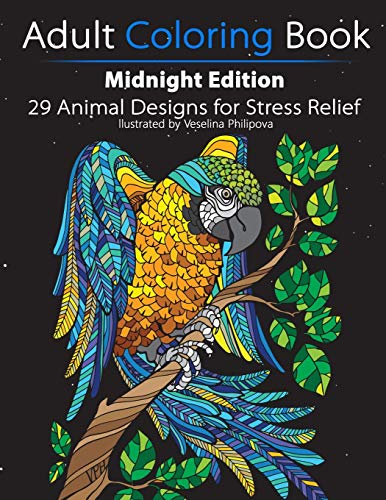 Adult Coloring Book: Midnight Edition: 29 Animal Designs for Stress Relief
