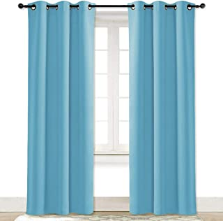 NICETOWN Teal Blue Blackout Room Darkening Drapery Window Treatment Thermal Insulated Solid Grommet Curtain/Drape Hall (Teal Blue=Light Blue, Single Panel, 42 84 inch)