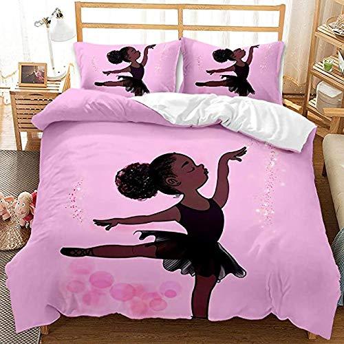HUA JIE Conjuntos de Ropa de Cama de Color Rosa Juego de Funda nórdica de niña Bailarina de Cisne Negro afroamericano de 3 Piezas para niños niñas 2 Fundas de Almohada