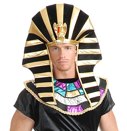 Mens Pharaoh Black Gold Egyptian Headdress Fancy Dress Costume Outfit Hat