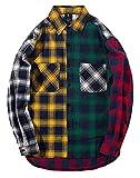 LifeHe Men Women Plaid Shirts Colour Block Long Sleeve Button Up Jackets Oversized (Colourful, S)