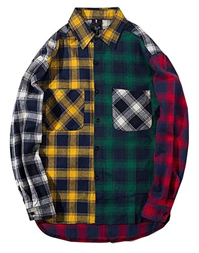 LifeHe Men Women Hip Hop Patchwork Plaid Shirts Streetwear Oversized (Colourful, L)