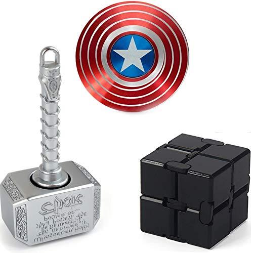 Handheld Sensory Fidget Toy Set Infinity Fidget Cube Block Flippy Chain,Fidget Hammer Spinner, Shield Fidgit Spinners, Anti Stress Anxiety Relief Stuffer Gifts for Teen Kids Adults EDC ADHD Autism