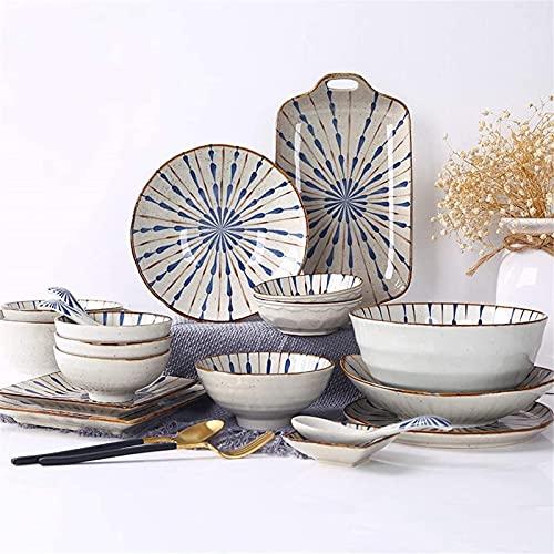 SENWEI Juego de platos de cena, vajilla de cerámica con 35 piezas, tazón, plato, cuchara, juegos de cena de estilo, juego de combinación de porcelana mate con textura mate, cerámica