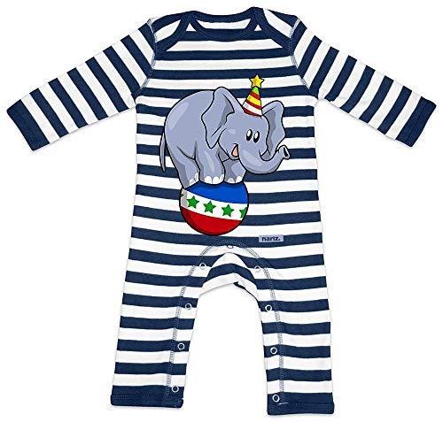 HARIZ Pelele a rayas para bebé, diseño de elefante, circo, animales de la selva, incluye tarjetas de regalo, color azul marino y blanco lavado 6-12 meses
