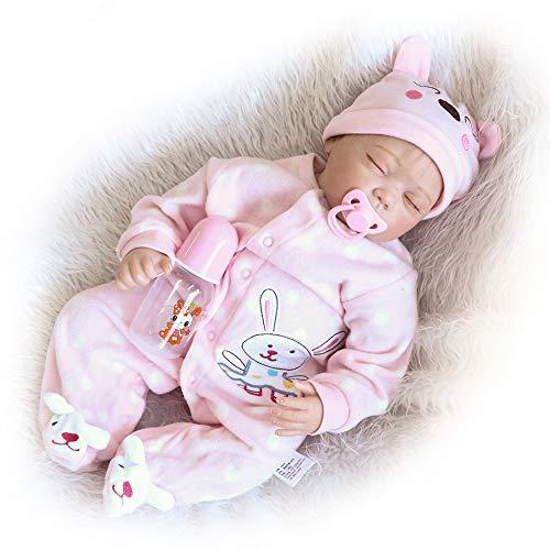 CAheadY 46cm weiches Vinylsilikon geschlossene Augen wiedergeborenes Baby - Puppe - Kinder begleiten Spielzeug