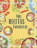 Mis recetas favoritas: Cuaderno de 100 recetas en blanco para anotar tus propios recetas y notas | 2 páginas por receta | Gran formato 21,6 x 27,9 cm | Tapa brillante | Amarillo | Idea de regalo