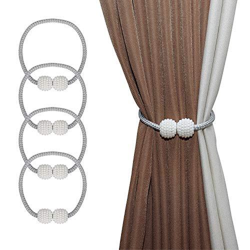 ISIYINER Magnetische Vorhang Raffhalter Faux Perle Ball Vorhang Binder Elegante Vorhang Seil Holdback Mode Vorhang Halter Schnallen für Zuhause Büro Dekoration 4 Stücke (Grau)