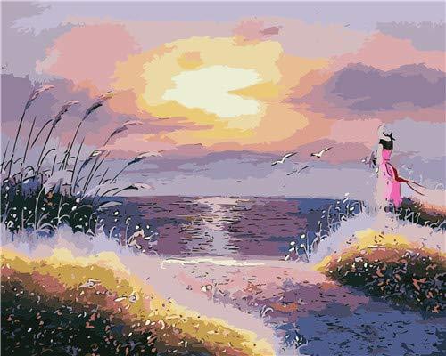 Lege DIY digitale olieverfschilderij op canvas, cadeau voor volwassenen, kinderen, schilderen op cijfers, set zonsondergang aan zee ornament, ideaal voor huis, woonkamer, hotel, restaurant, bar, 40 x 50 cm